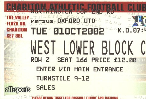 Ticket Charlton Athletic - Oxford United, League Cup, 01.10.2002