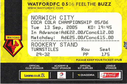 Ticket Watford FC - Norwich City, Championship, 13.09.2005