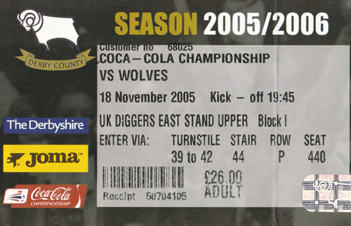 Ticket Derby County - Wolverhampton Wanderers, Championship, 18.11.2005