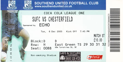 Ticket Southend Utd - Chesterfield FC, League One, 06.12.2005