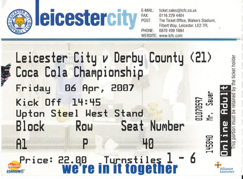 Ticket Leicester City - Derby County, Championship, 06.04.2007