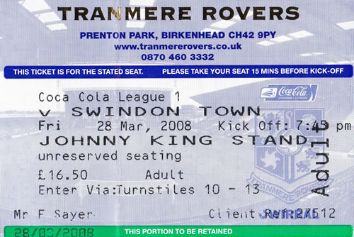 Ticket Tranmere Rovers - Swindon Town, League One, 28.03.2008