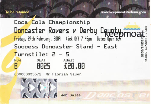 Ticket Doncaster Rovers - Derby County, Championship, 27.02.2009