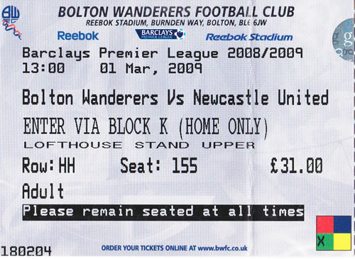 Ticket Bolton Wanderers - Newcastle United, Premier League, 01.03.2009