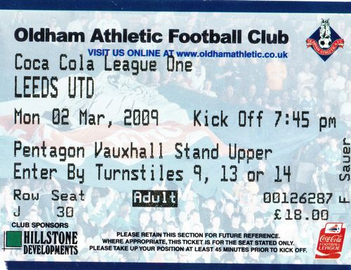 Ticket Oldham Athletic - Leeds United, League One, 02.03.2009