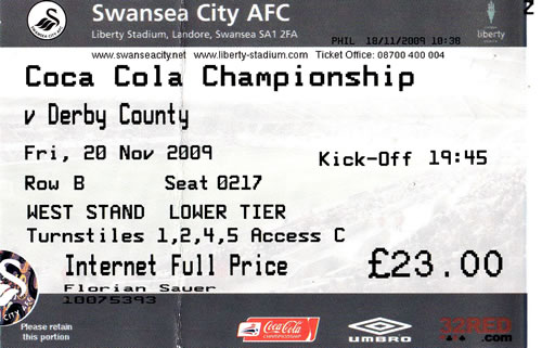 Ticket Swansea City - Derby County, Championship, 20.11.2009