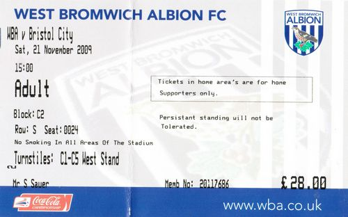 Ticket West Bromwich Albion - Bristol City, Championship, 21.11.2009