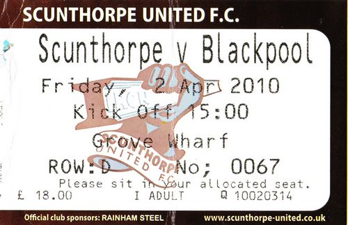 Ticket Scunthorpe United - Blackpool FC, Championship, 02.04.2010
