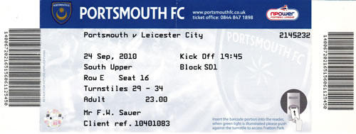 Ticket Portsmouth FC - Leicester City, Championship, 24.09.2010
