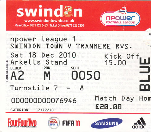 Ticket Swindon Town - Tranmere Rovers, League One, 25.01.2011