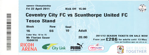 Ticket Coventry City - Scunthorpe United, Championship, 22.04.2011