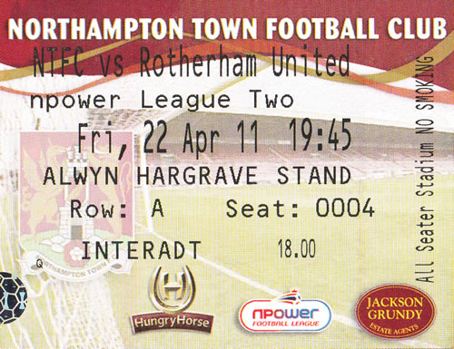 Ticket Northampton Town - Rotherham United, League Two, 22.04.2011
