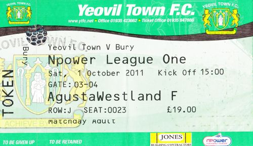 Ticket Yeovil Town - Bury FC, League One, 01.10.2011