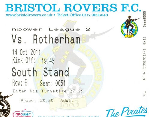 Ticket Bristol Rovers - Rotherham United, League Two, 14.10.2011