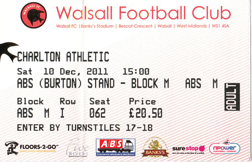 Ticket Walsall FC - Charlton Athletic, League One, 10.12.2011