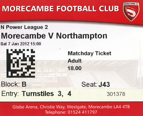 Ticket Morecambe FC - Northampton Town, League Two, 07.01.2012