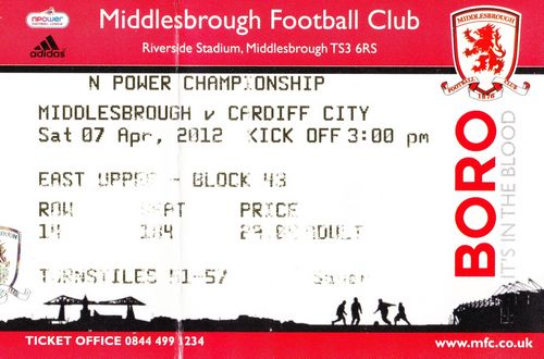 Ticket Middlesbrough FC - Cardiff City, Championship, 07.04.2012