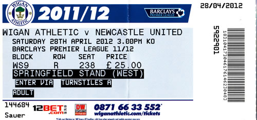 Ticket Wigan Athletic - Newcastle United, Premier League, 28.04.2012