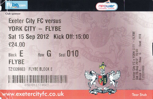 Ticket Exeter City - York City, League Two, 15.09.2012