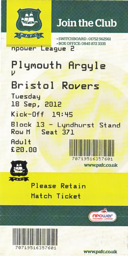 Ticket Plymouth Argyle - Bristol Rovers, League Two, 18.09.2012