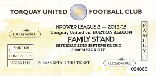 Ticket Torquay United - Burton Albion, League Two, 22.09.2012