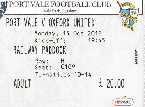 Ticket Port Vale - Oxford United, League Two, 15.10.2012