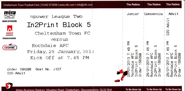 Ticket Cheltenham Town - Rochdale AFC, League Two, 25.01.2013