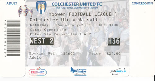 Ticket Colchester United - Walsall FC, League One, 26.01.2013