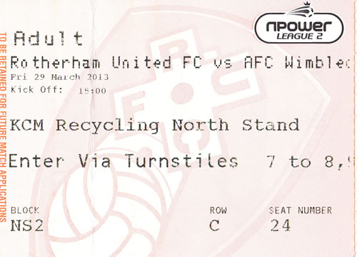 Ticket Rotherham United - AFC Wimbledon, League Two, 29.03.2013