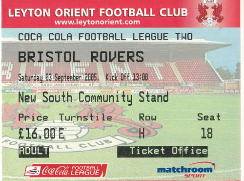 Ticket Leyton Orient - Bristol Rovers, League Two, 03.09.2005