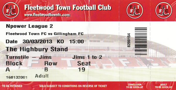 Ticket Fleetwood Town - Gillingham FC, League Two, 30.03.2013