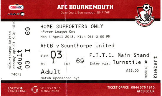 Ticket AFC Bournemouth - Scunthorpe United, League One, 01.04.2013