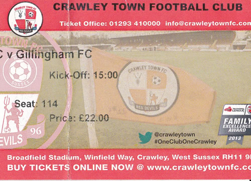 Ticket Crawley Town - Gillingham FC, League One, 07.09.2013