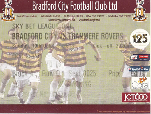 Ticket Bradford City - Tranmere Rovers, League One, 13.10.2013