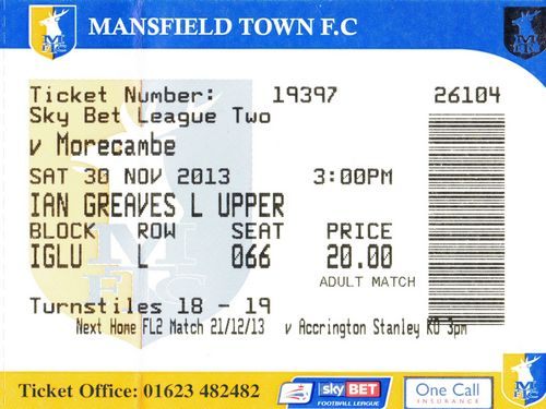 Ticket Mansfield Town - Morecambe FC, League Two, 30.11.2013
