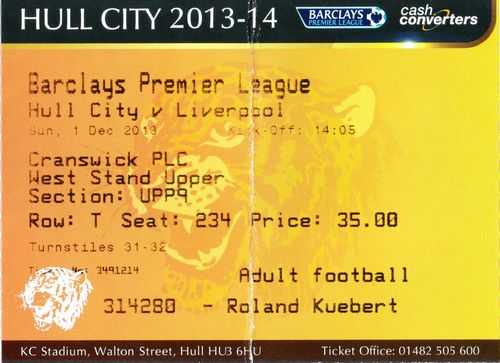 Ticket Hull City - Liverpool FC, Premier League, 01.12.2013