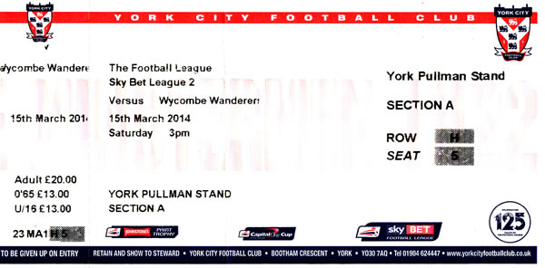 Ticket York City - Wycombe Wanderers, League Two, 15.03.2014