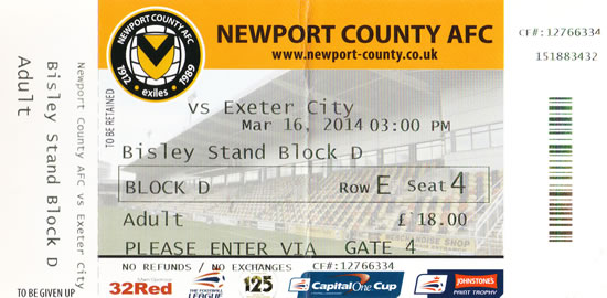 Ticket Newport County - Exeter City, League Two, 16.03.2014