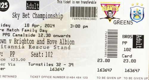 Ticket Huddersfield Town AFC - Brighton & Hove Albion, Championship, 18.04.2014