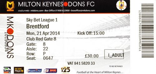 Ticket MK Dons - Brentford FC, League One, 21.04.2014